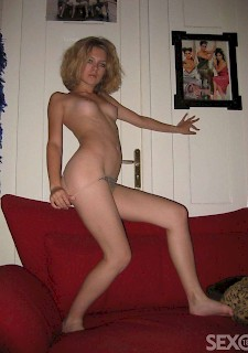 sexy blond chick at home