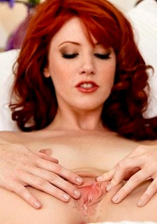 very hot redhead plays with dildo