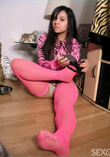 teen 18 brunette in pink pantyhose