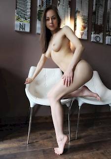 Teen brunette babe shows perfect tits and pussy